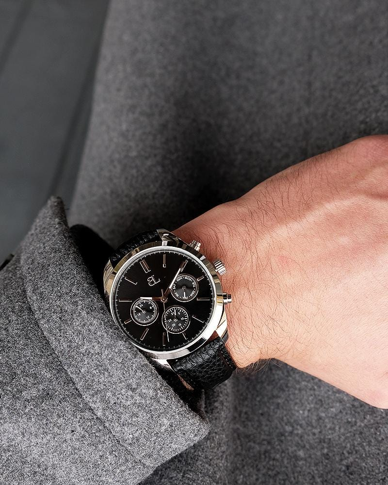 Jet Black Leather Gun Chronograph 42
