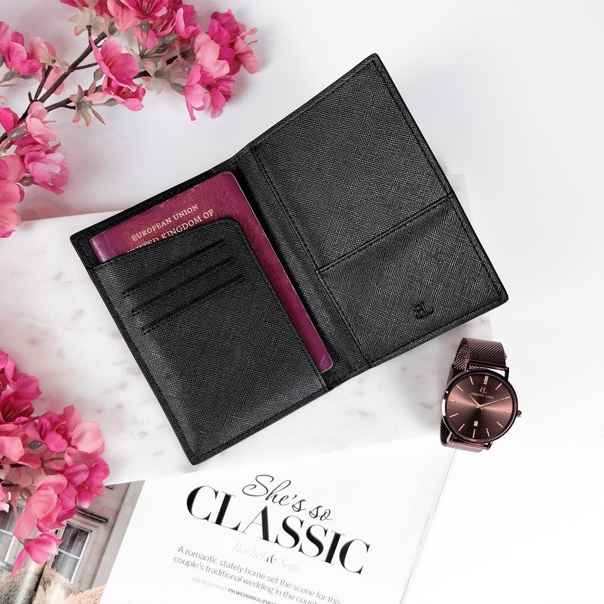 Jet Black Santana Passport Holder