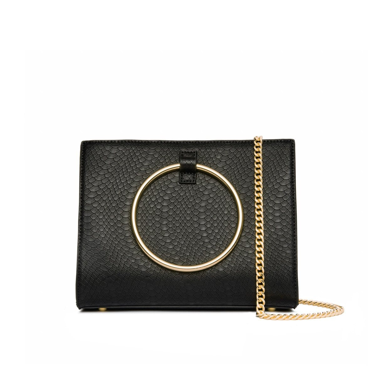 Jet Black Moda Handbag Yellow Gold