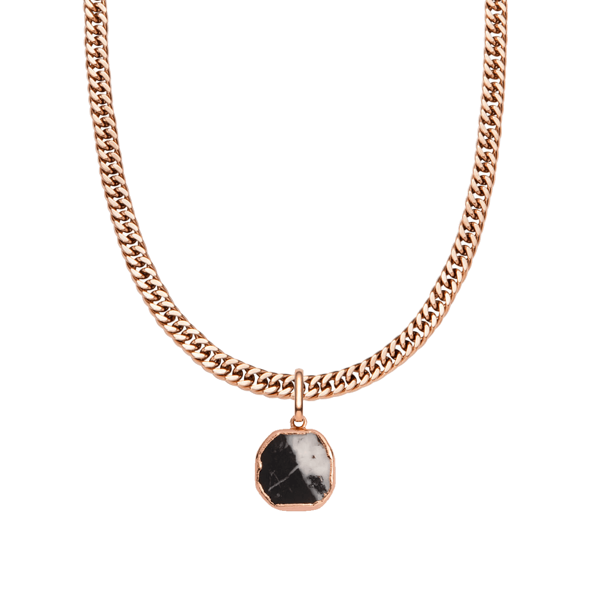 Black Marble Curb Chain Necklace 18 in (Rose Gold)