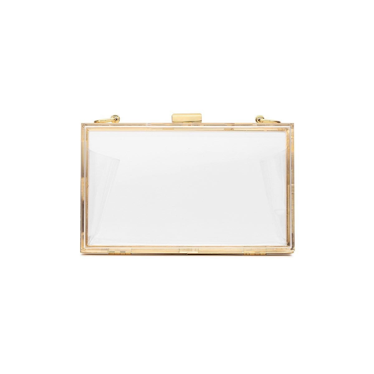 Clear Chloe Clutch Yellow Gold
