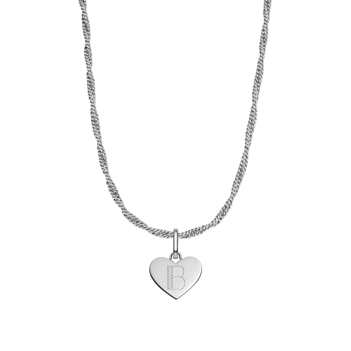 Heart Rope Chain Necklace (Silver)
