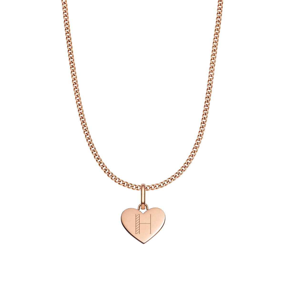 Heart Small Curb Chain Necklace (Rose Gold)