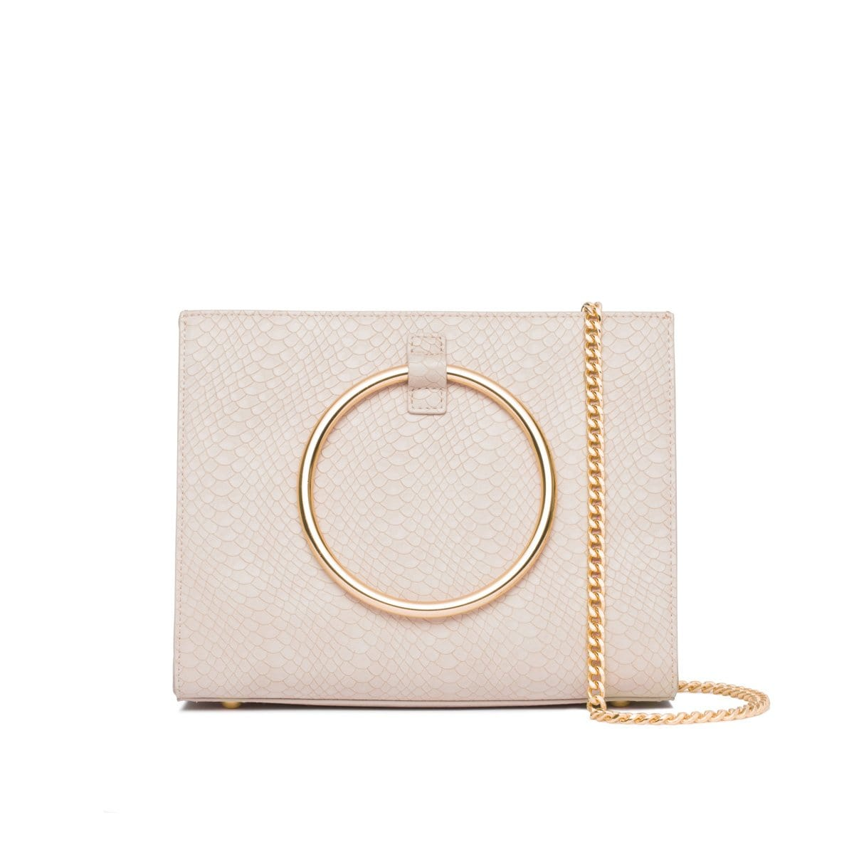 Ivory White Moda Handbag Yellow Gold