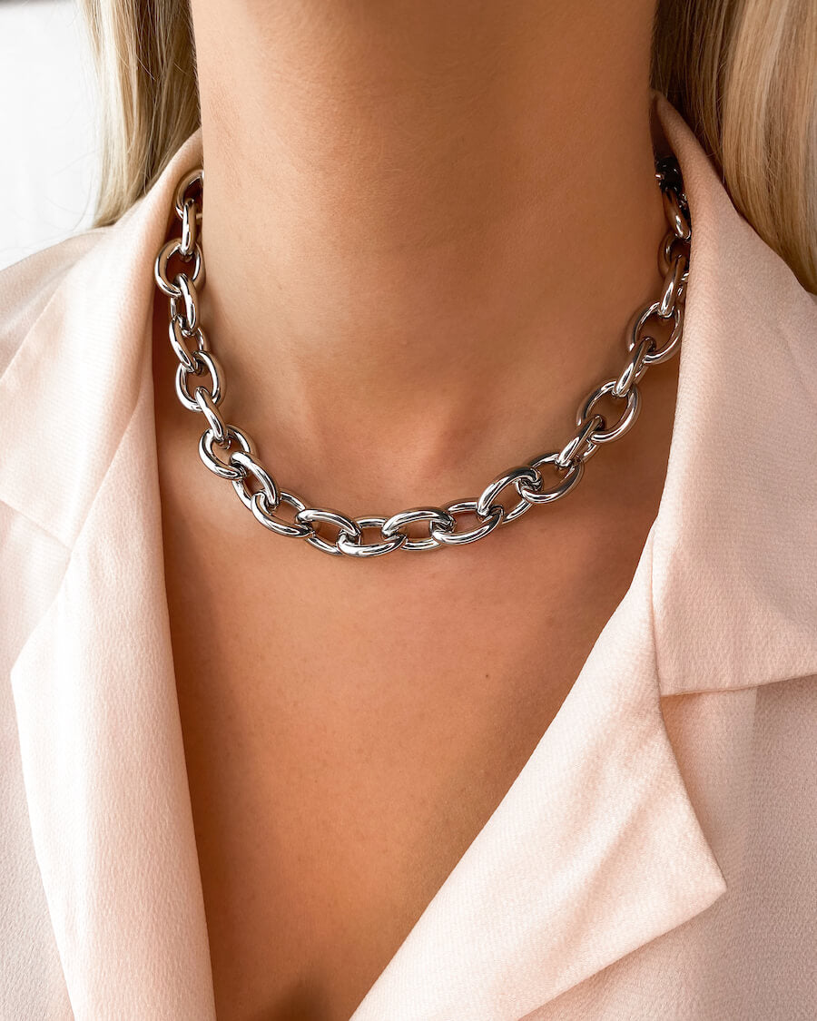 Oval Link Chain Necklace & Bracelet Gift Set (Silver)