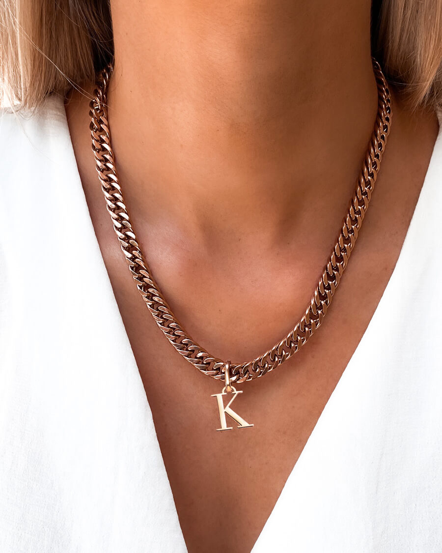 Letter Curb Chain Necklace (Rose Gold)