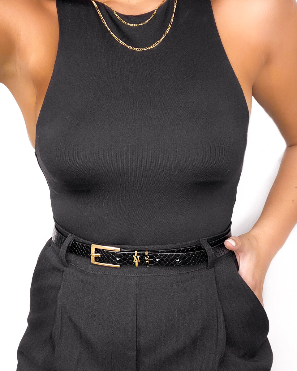 Jet Black Letter Belt M/L (Gold)