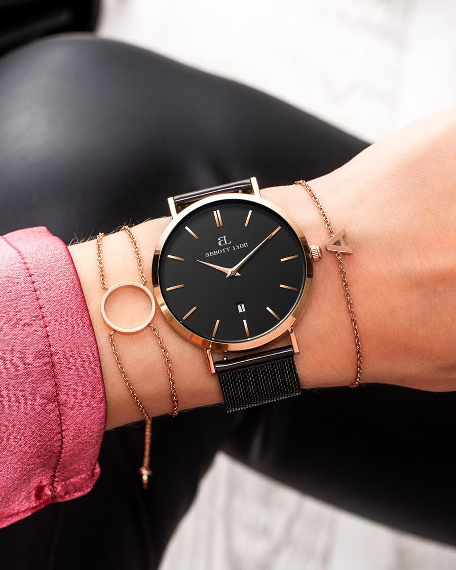 Black Chain Rose Gold Kensington 40