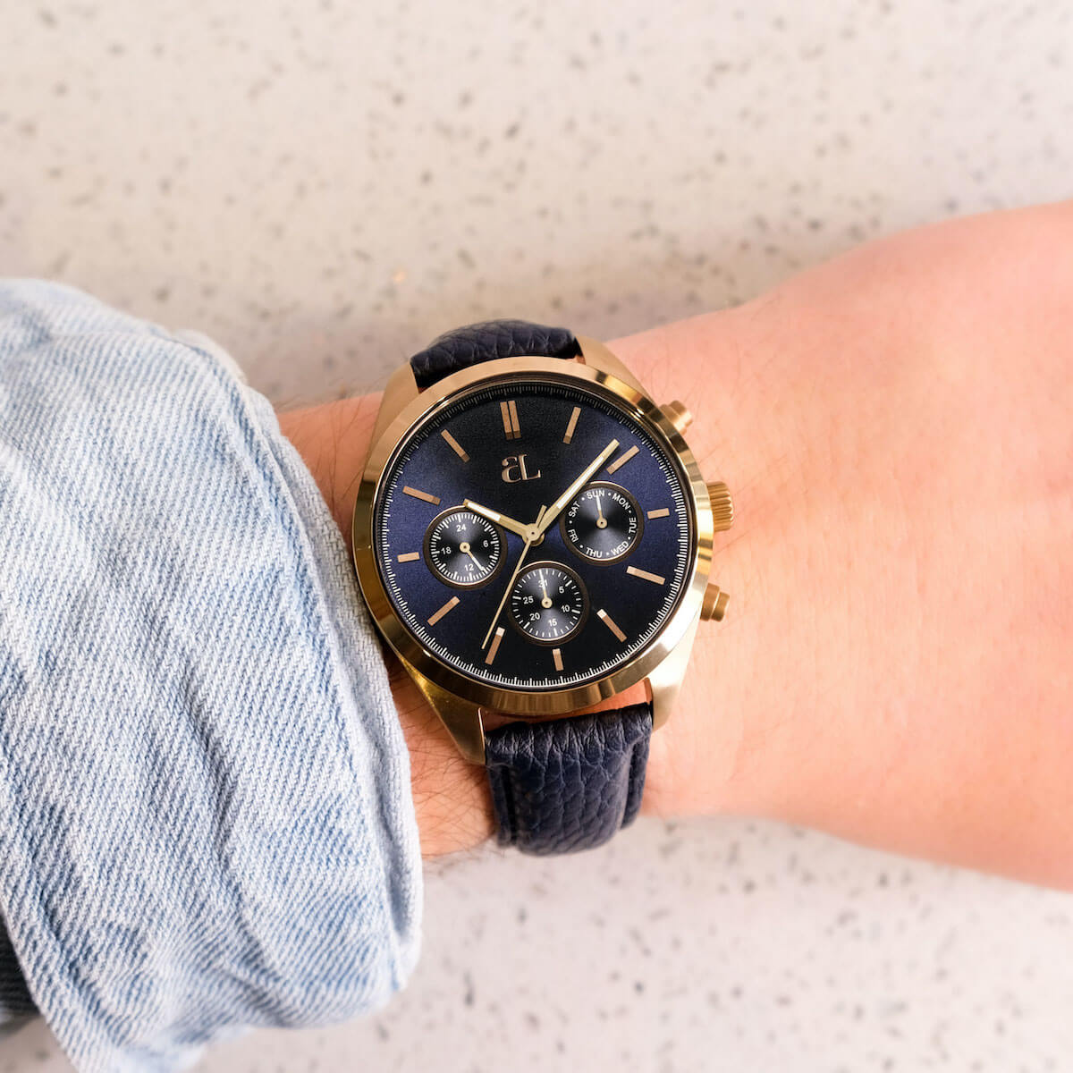 Midnight Leather Brass Chronograph 42