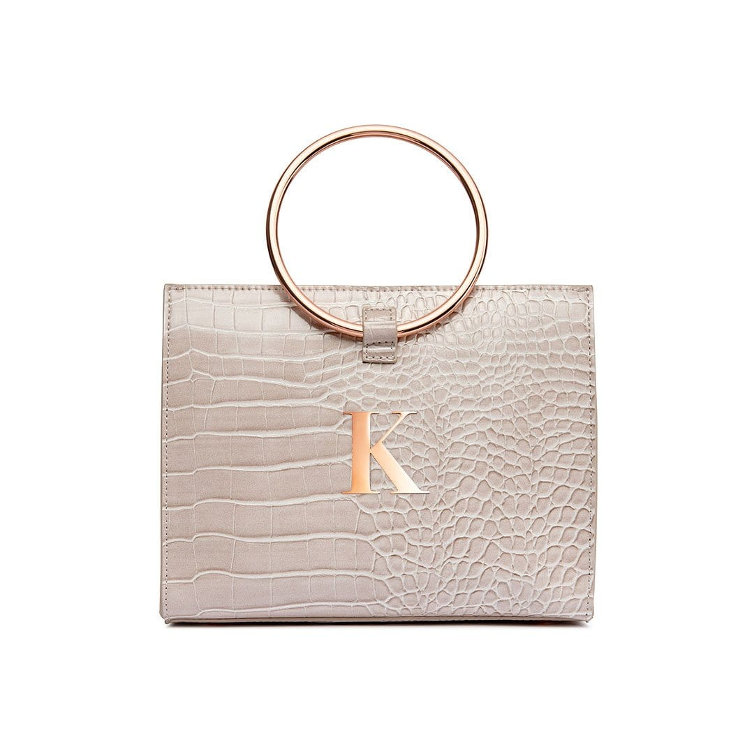 Moda Croc Top Handle Bag (Ash Grey/Rose Gold)