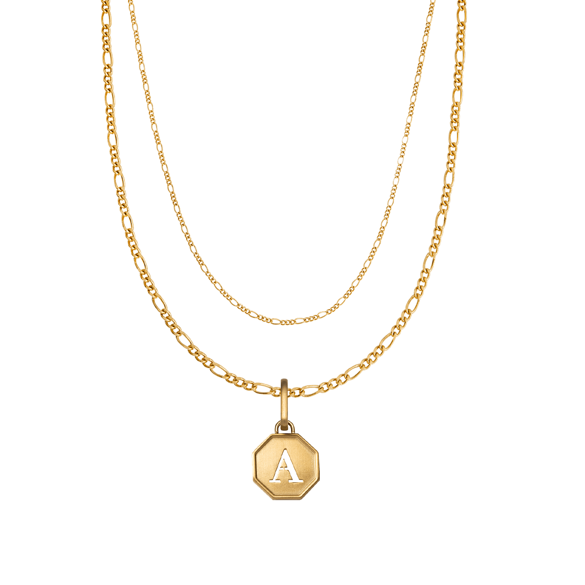 Octagon Double Chain Figaro Necklace (Gold)