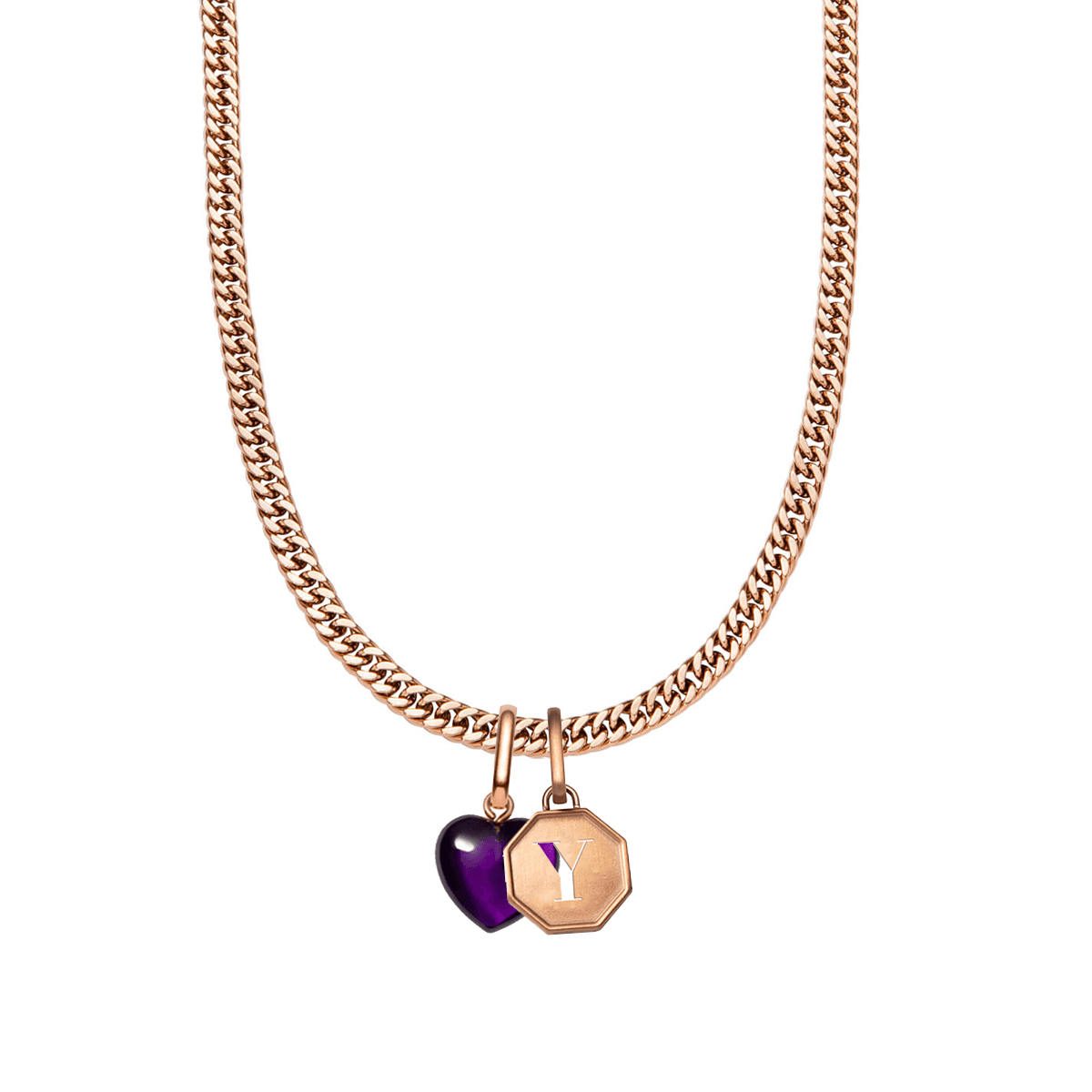 Octagon Letter & Birthstone Curb Chain Necklace (Rose Gold)