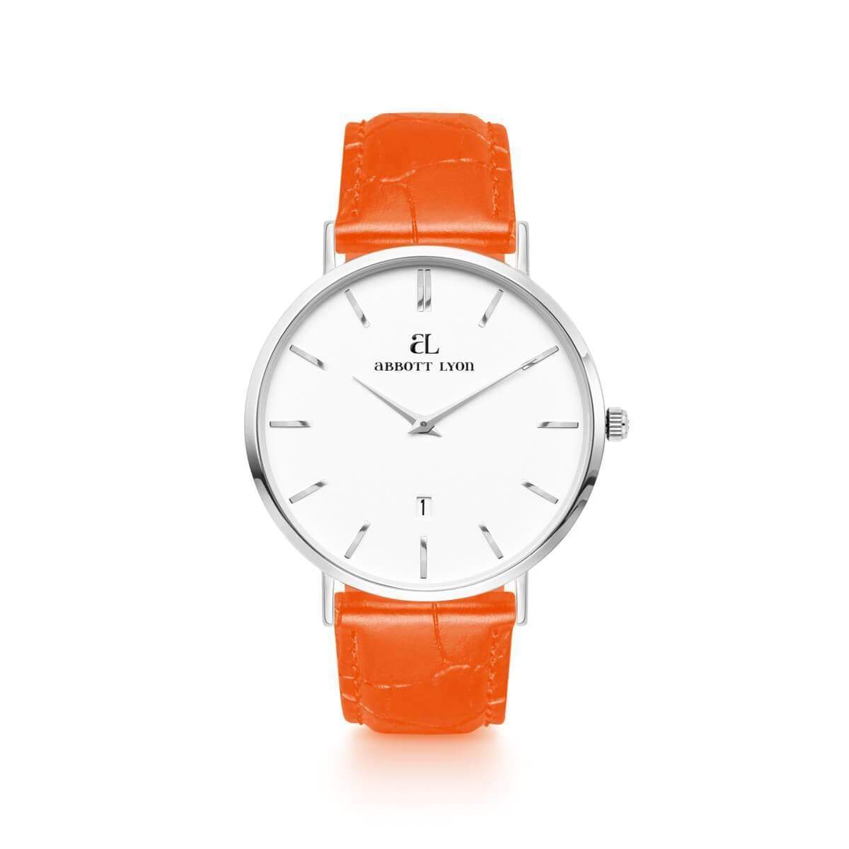Orange Gator Leather Kensington Silver 40