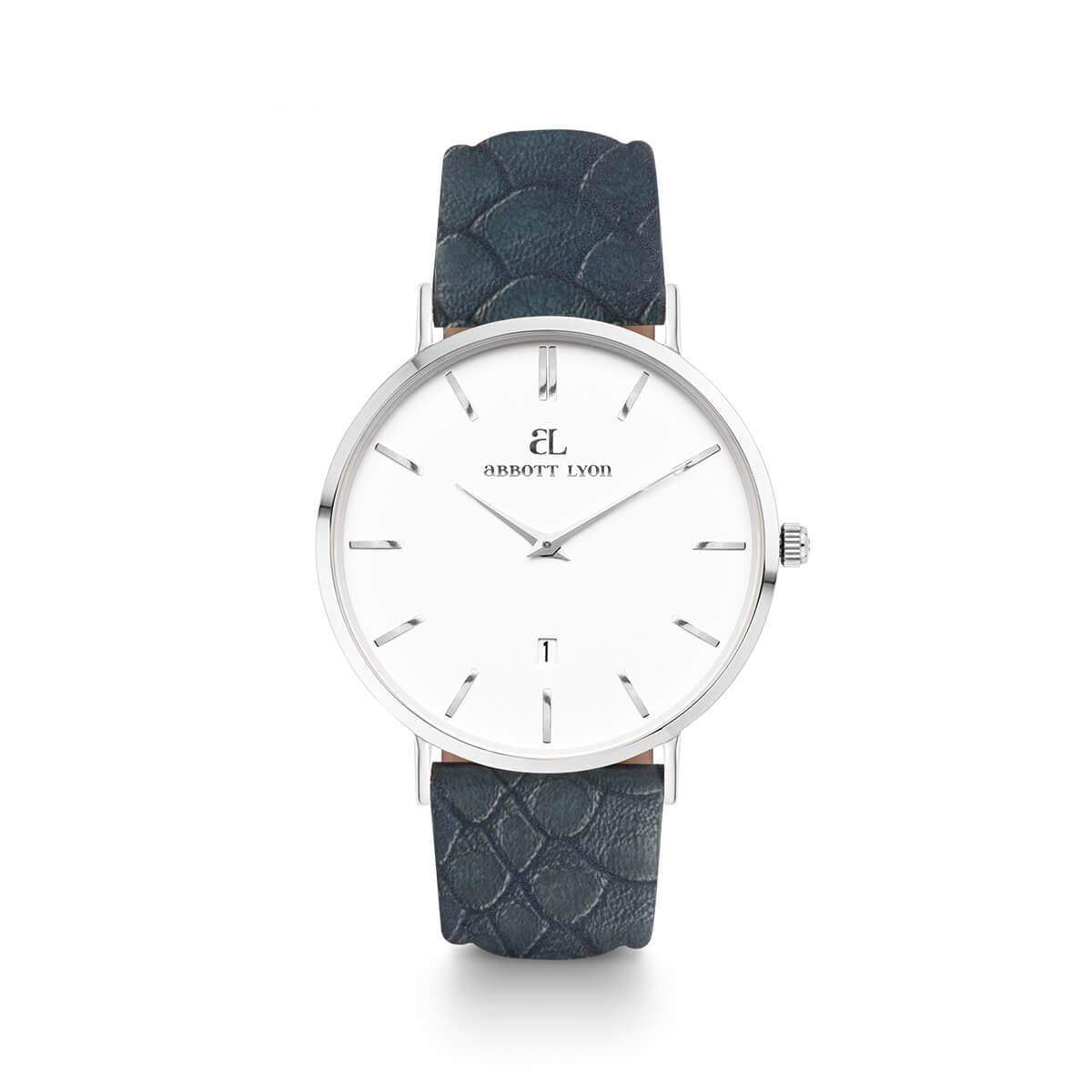 Oxford Blue Leather Kensington Silver 40
