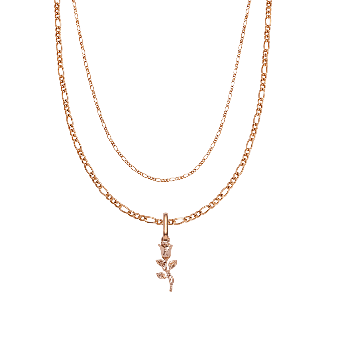 Rose Double Chain Figaro Necklace (Rose Gold)