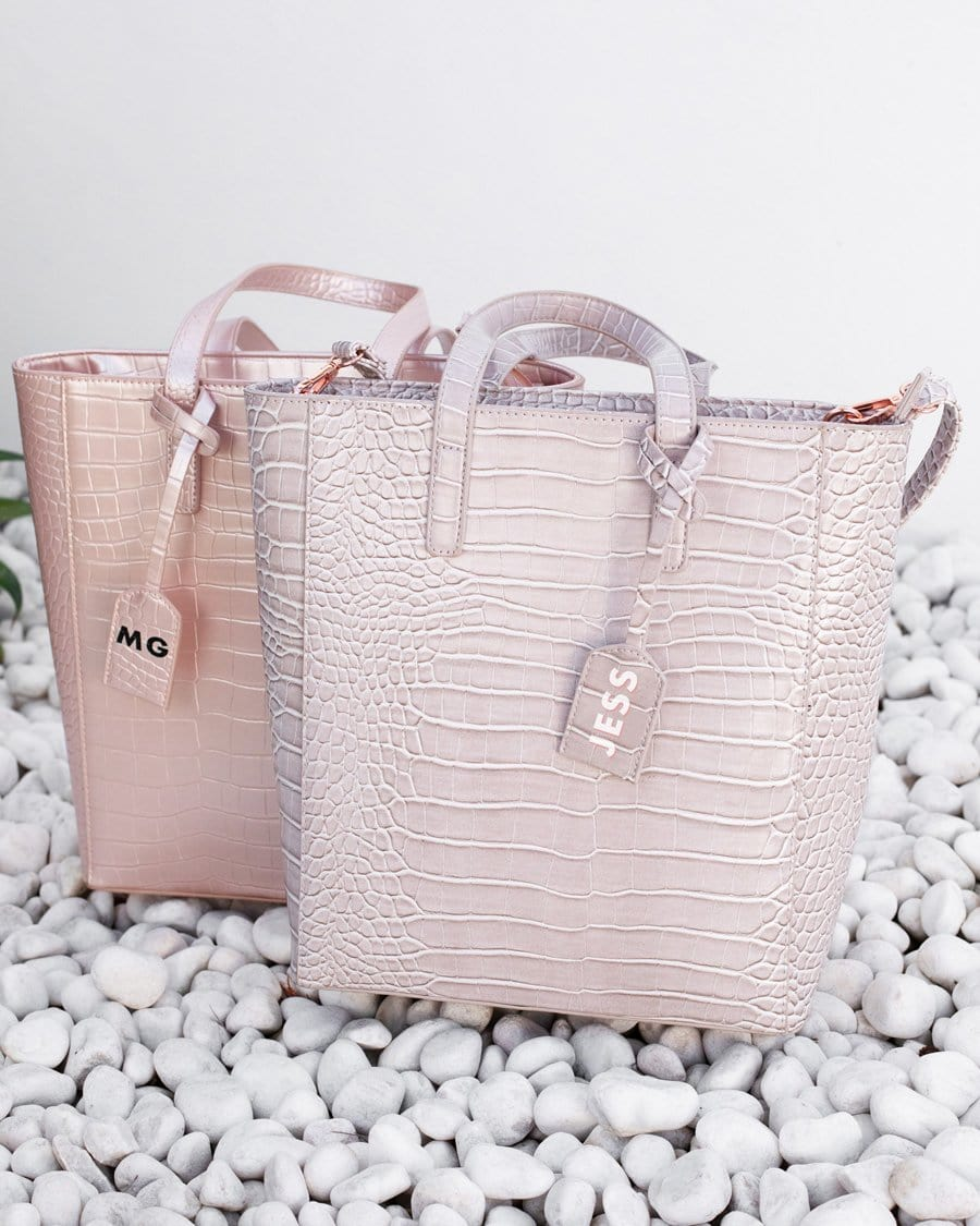 Cora Tote Bag (Shimmer Blush/Rose Gold)