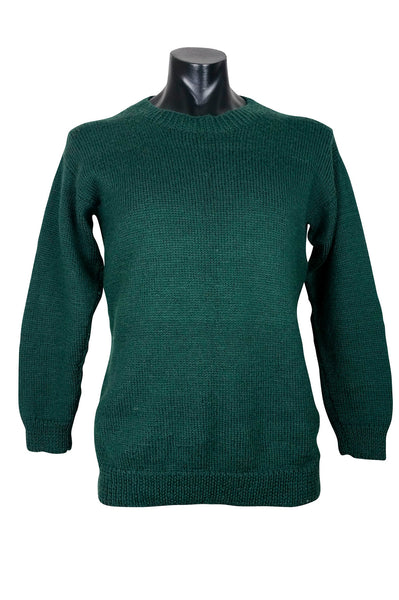 Forest Green Hand-Knitted Wool Jumper