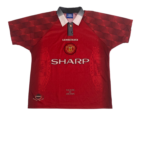 1996/98 Manchester United Home Umbro Football Shirt (M-L)