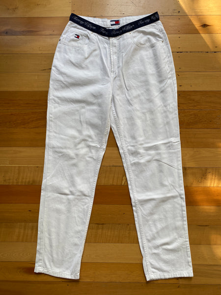 Tommy Hilfiger White Jeans with Logo Waist
