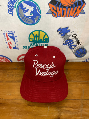 "Percy's Vintage ""Cityless"" Maroon Single Line Script New Era Hat (S-M)"