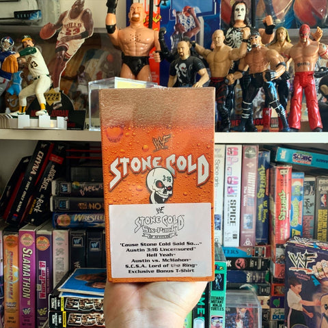 Stone Cold Six Pack VHS + T-Shirt Set