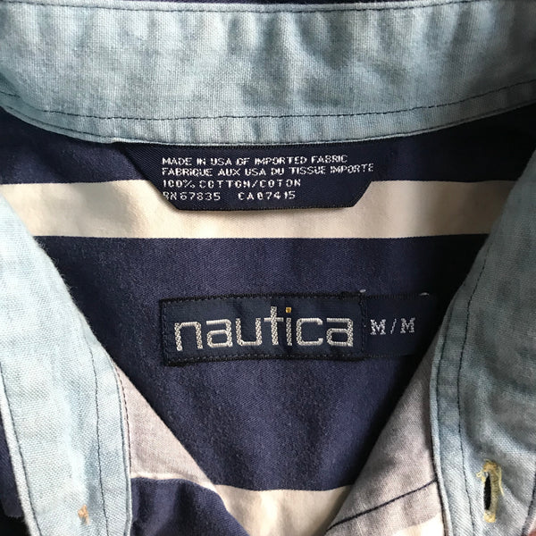 90s Nautica Navy & Cream Vertical Striped Buttondown