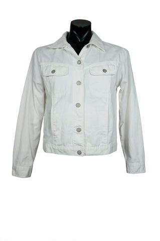 1990s Bill Blass White Denim Jacket