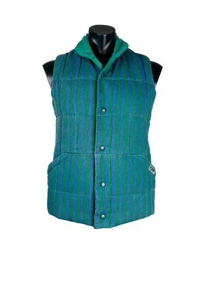 1990s Vintage Striped Denim Puffa Vest