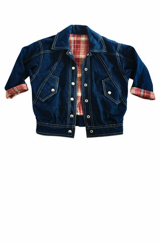 Kids Denim Jacket with Tartan Lining
