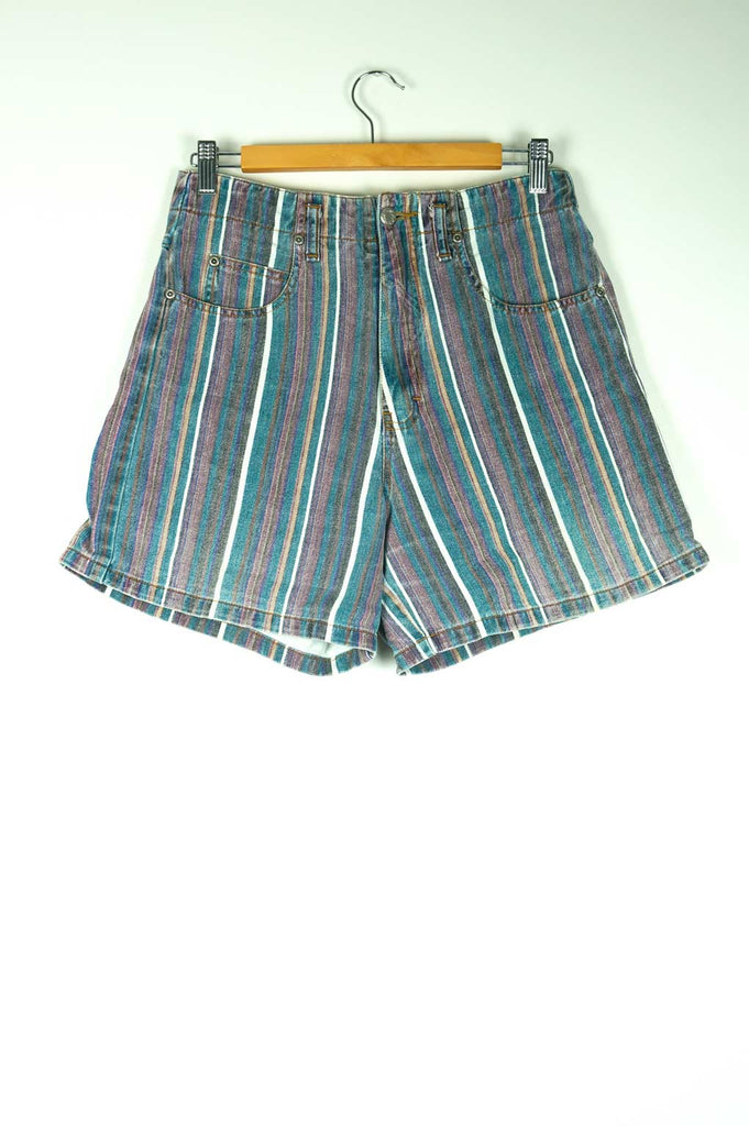 Vintage Paris Blues Striped Denim Shorts