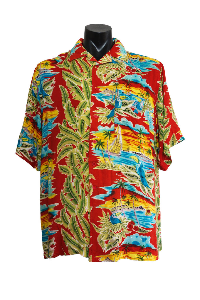 Red Tropical Print Aloha Shirt