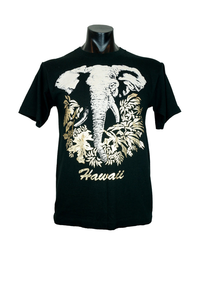 80s Vintage Gold Foil Hawaii T-Shirt with Puff Elephant Print