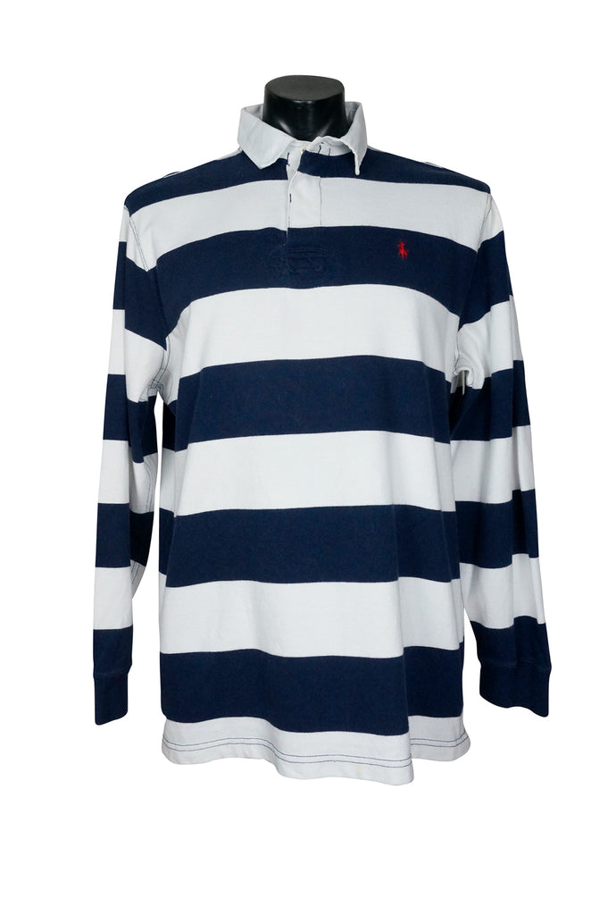 206fa2a55 Polo by Ralph Lauren Navy + White Rugby Shirt – Percy s Vintage and  Collectibles