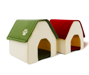 Home Shape Dog House Bed With Removable Cushion & Waterproof Bottom