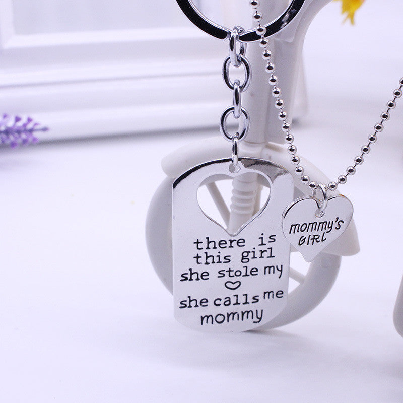 There Is This Girl She Stole My Heart She Calls Me DADDY MOMMY GRANDMA Heart necklaces & pendants Keychain jewelry - CoolstuffCenter