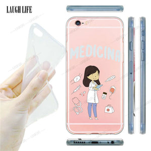 For Apple iPhone 6 6s 5s 7 plus Case Slim Crystal Clear TPU Silicone Protective sleeve Newest Nurse Doctor Dentist Cover Cases - CoolstuffCenter