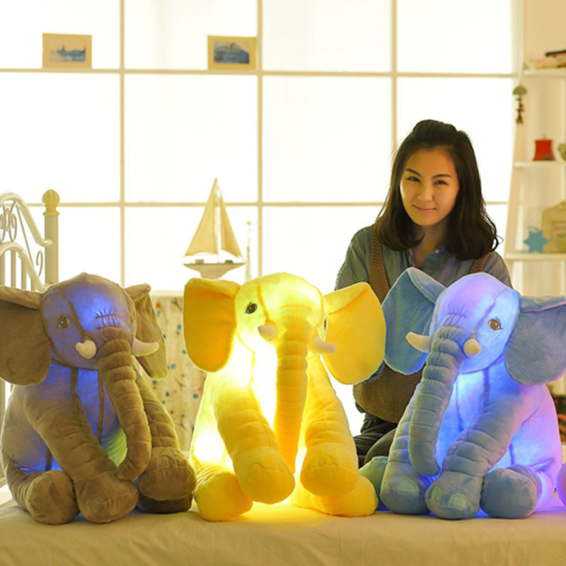 Colorful Glowing Soft Stuffed Plush Toy Elephant Pillow Flashing LED Light Luminous Elephant Doll Baby Birthday Gift for Kids - CoolstuffCenter