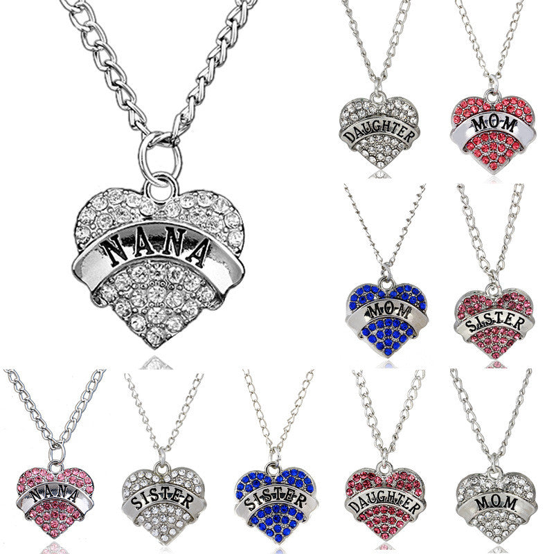 Mother's Day Best Gift Mom Daughter Sister Grandma Nana Aunt Family Necklace Crystal Heart Pendant Rhinestone Women Jewelry - CoolstuffCenter