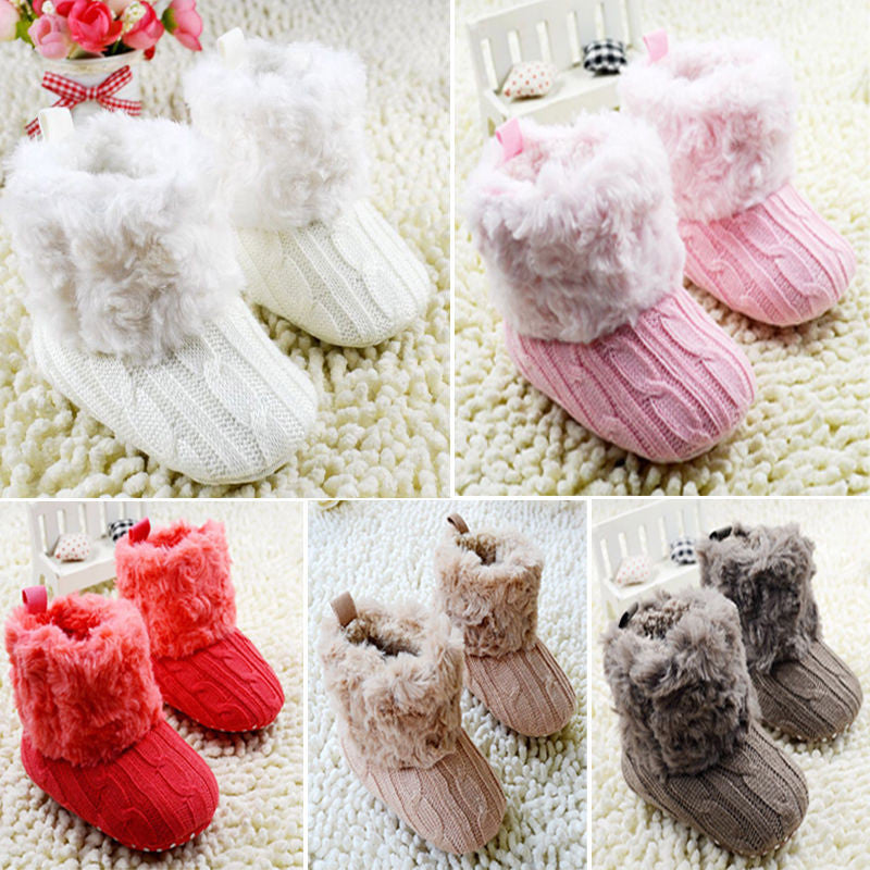Baby Shoes Infants Crochet Knit Fleece Boots - CoolstuffCenter
