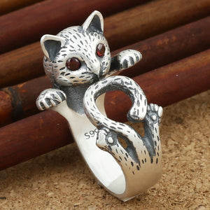 Sterling Silver Thai Silver Cute Cat Open Ring - CoolstuffCenter