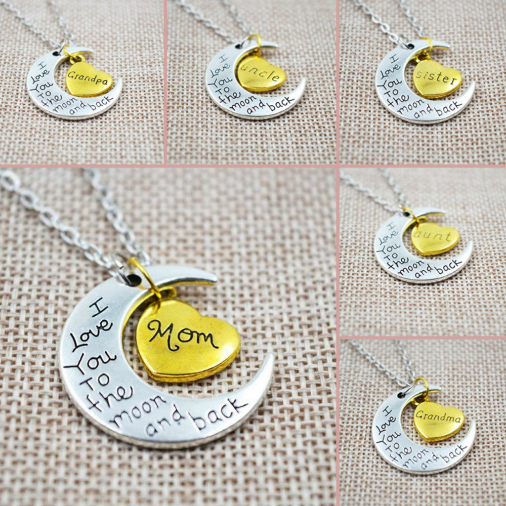 I Love You To The Moon And Back Silver Necklace Vintage Family Necklaces Pendants Fashion Women Jewelry Mom Christmas Gift - CoolstuffCenter