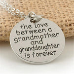 Love Between Grandma And Granddaughter Round Pendant Necklaces Family Jewelry Gift Letters Carved Family Necklace - CoolstuffCenter