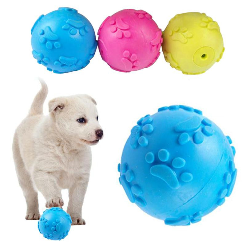3 Color Teeth Bite Rubber Dog Cat Play Ball Products Interactive Toys - CoolstuffCenter