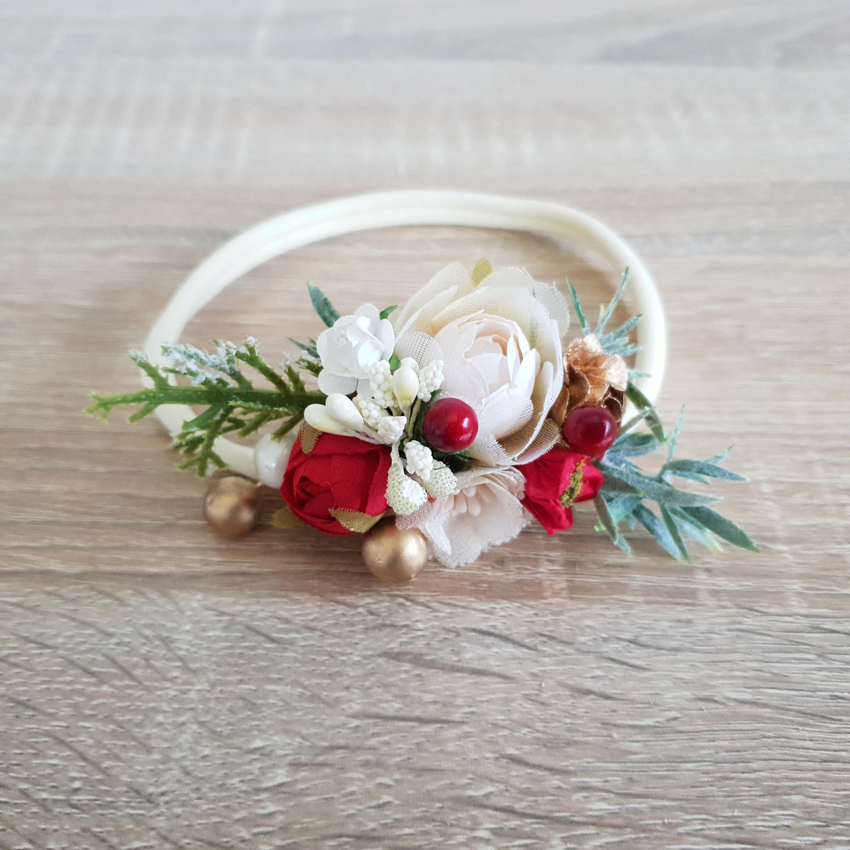 Winter floral headband