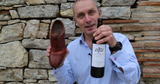 use shoe to uncork wine bottle