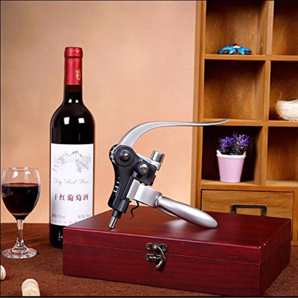 Cooko Wine Accesories Gift Set - 9 pcs Includes Stainless Steel Wine Opener, Corkscrews, Thermometer, Wine Aerator, Stoppers, Drip Ring, Foil Cutter