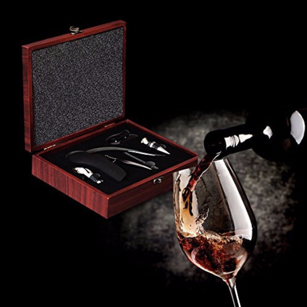 WINECRAFT RABBIT WINE OPENER GIFT SET – WINE STOPPER, FOIL CUTTER, WINE AERATOR, AND WOOD GIFT BOX