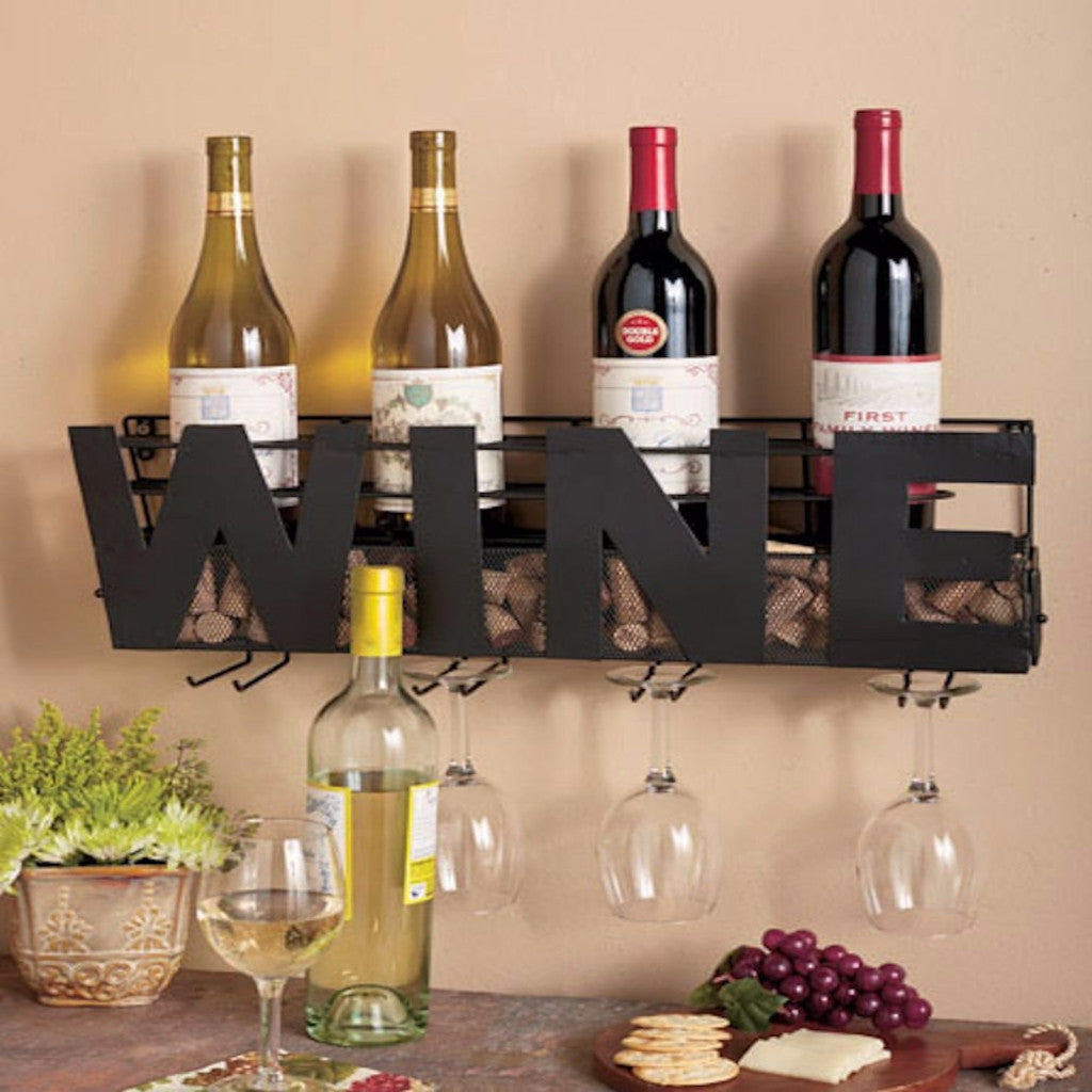 Metal Wine Signage Wine Bottle Rack, Cork, And Stemware Holder – Wall Mount