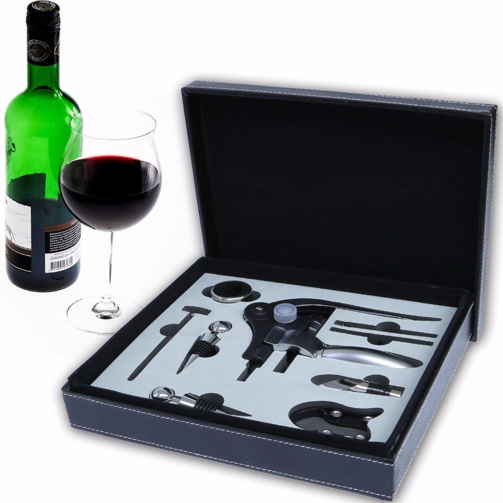 9 Piece iMounTEK Wine Accessory Gift Box - CorkScrew Foil Cutter, Wine Thermometer, and Stopper