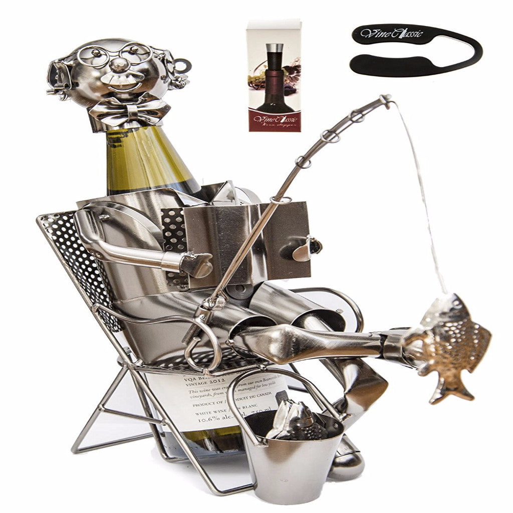 Fabulous Fisherman Catching Fish Wine Holder – With Bonus Wine Foil Cutter and Wine Stopper